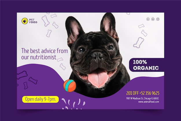 Concepto de banner de alimentos para animales vector gratuito
