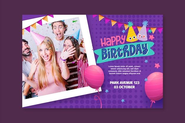 Concepto de banner de cumpleaños Vector Premium