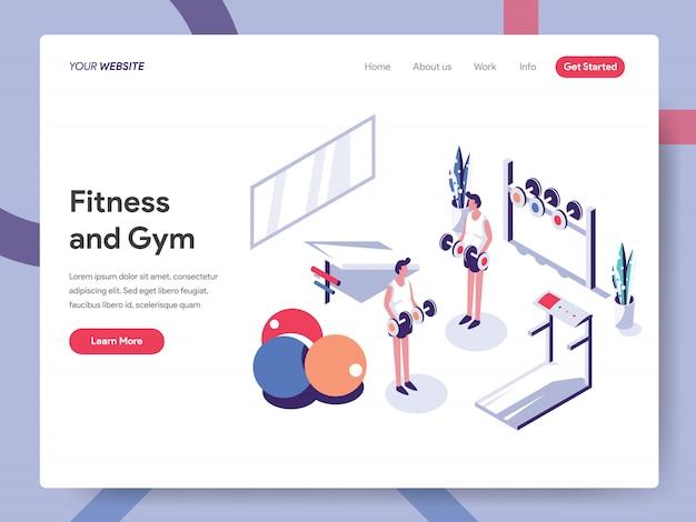 Concepto de banner de fitness y gimnasio para página web Vector Premium