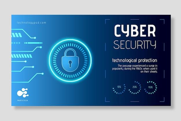 Concepto de banner de seguridad cibernética vector gratuito