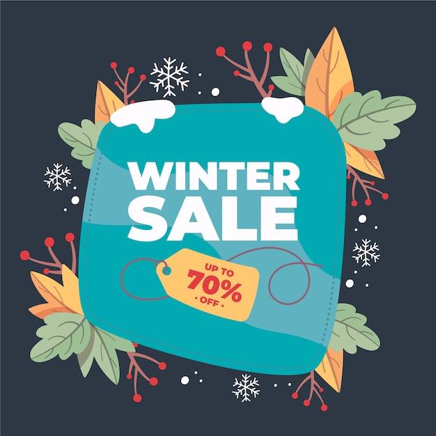 Concepto de banner de venta de invierno dibujado a mano vector gratuito