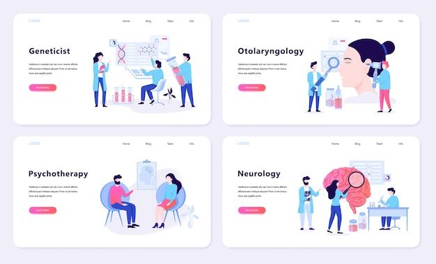 Concepto de banner web de psicoterapia y neurología. idea de tratamiento médico en el hospital. ilustración Vector Premium
