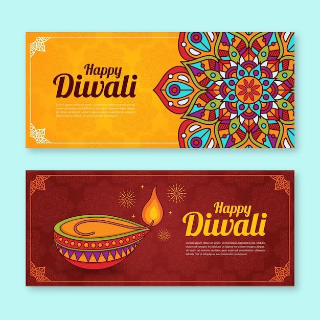 Concepto de banners de diwali vector gratuito