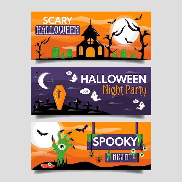Concepto de banners de halloween plana vector gratuito
