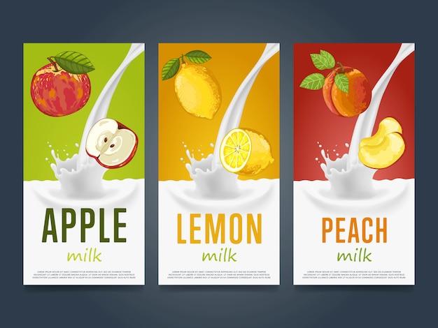 Concepto de batido con salpicaduras de leche y fruta Vector Premium