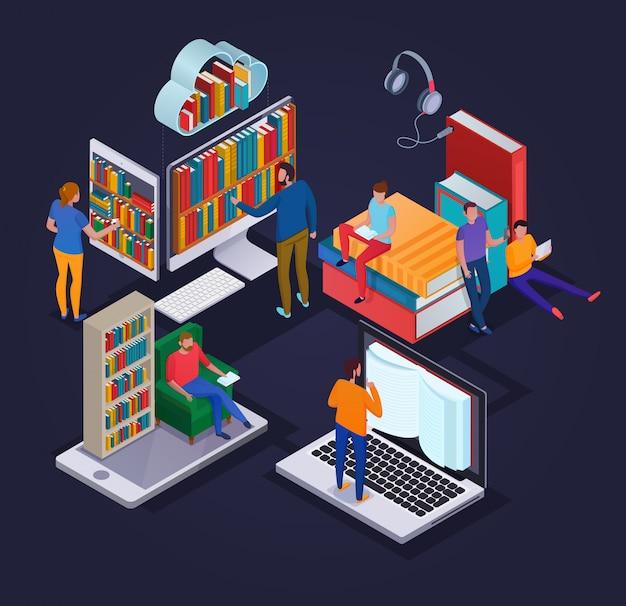Concepto de biblioteca en línea con dispositivos electrónicos de lectura de personas y estantes de libros isométricos 3d vector gratuito