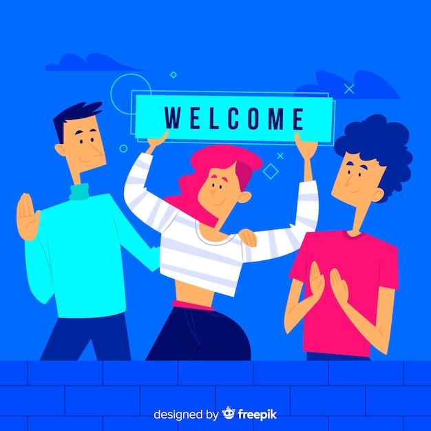 Concepto de bienvenida para landing page vector gratuito