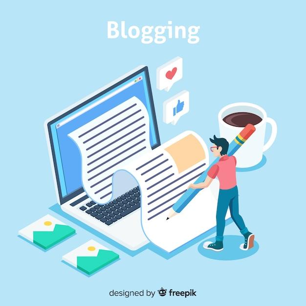 Concepto de blog con vista isométrica vector gratuito