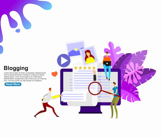 Concepto de blogging creativo. plantilla de fondo Vector Premium