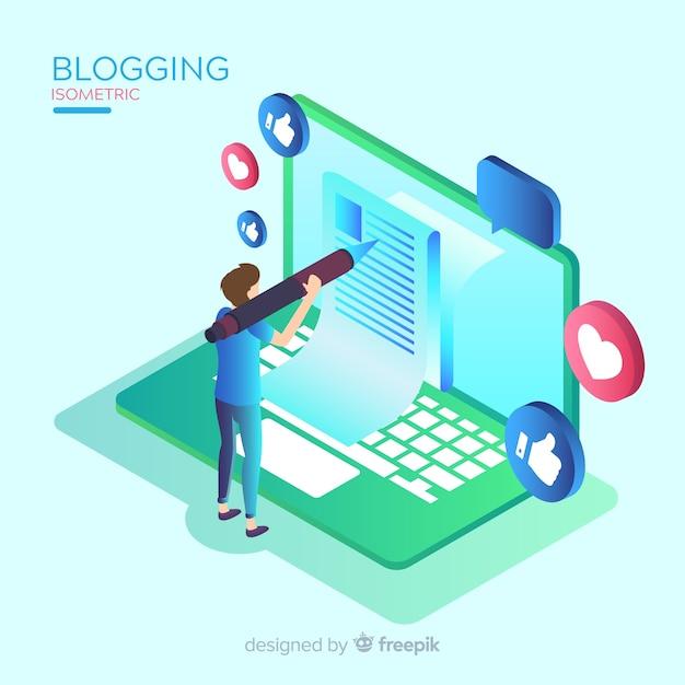 Concepto de blogging estilo isométrico vector gratuito
