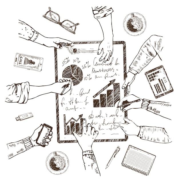 Concepto de boceto de planificación empresarial vector gratuito