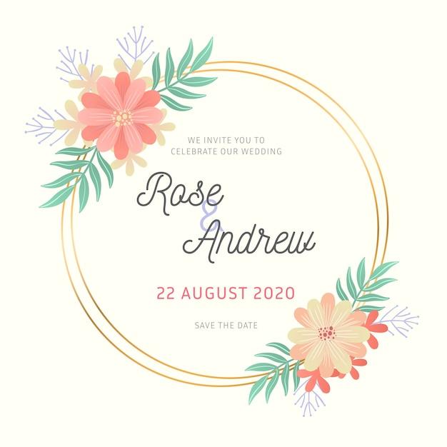 Concepto de boda elegante marco floral vector gratuito