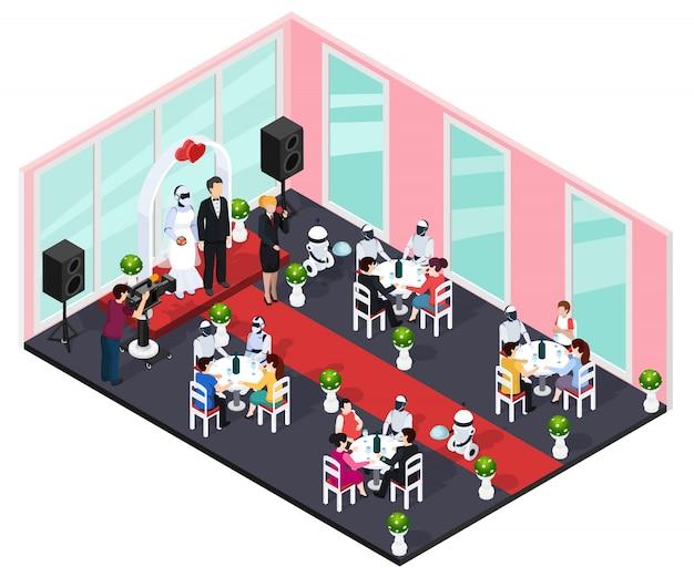 Concepto de boda humano y robot vector gratuito