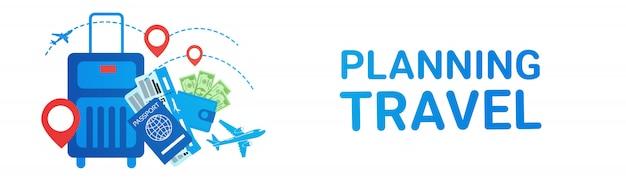 Concepto de los boletos del transporte de la ruta del viaje de la maleta de la bandera del viaje del planeamiento del día de fiesta Vector Premium