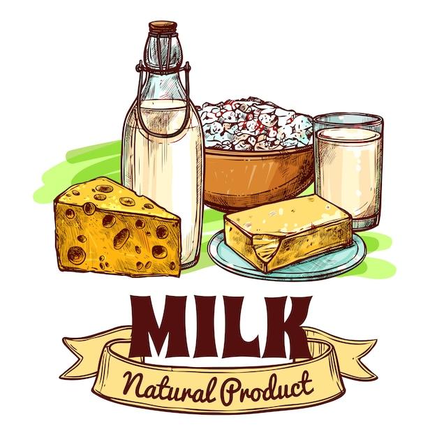 Concepto de bosquejo del producto lácteo vector gratuito