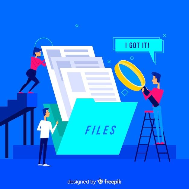 Concepto de búsqueda de archivos para la página de destino vector gratuito
