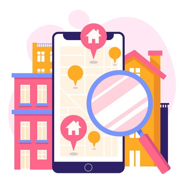 Concepto de búsqueda de bienes raíces con teléfono vector gratuito