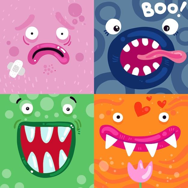 Concepto de caras de monstruos divertidos vector gratuito