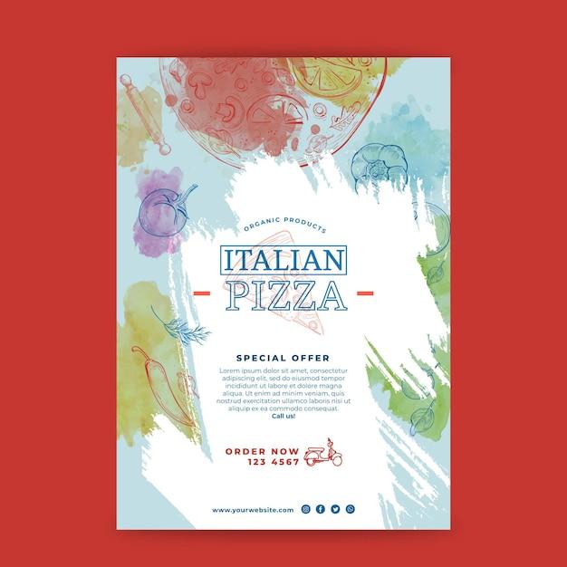 Concepto de cartel de comida italiana vector gratuito