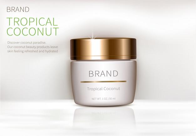 Concepto de cartel para crema natural orgánica. vector gratuito