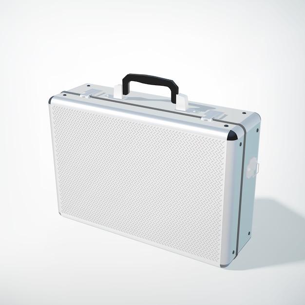 Concepto de caso de negocio de metal cerrado con mango negro en estilo realista en blanco aislado vector gratuito