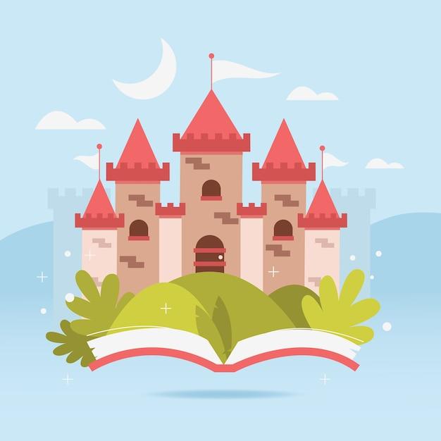 Concepto de castillo de cuento de hadas con libro vector gratuito