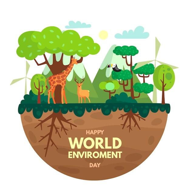 Concepto de celebración del día mundial del medio ambiente Vector Premium