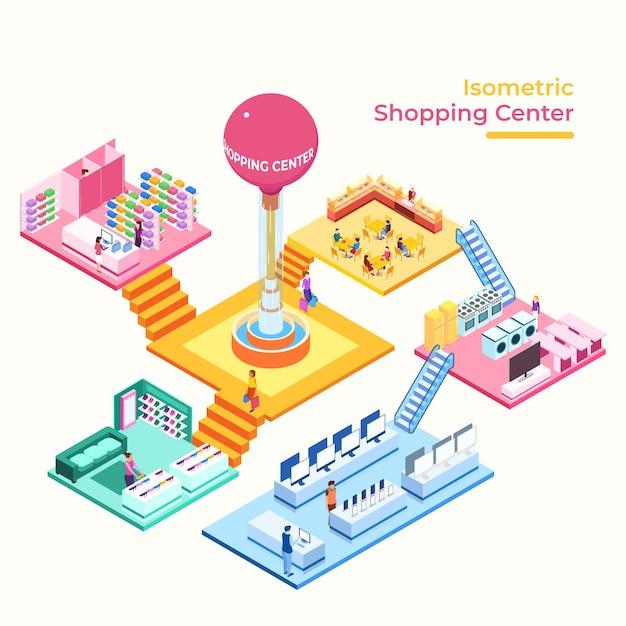 Concepto de centro comercial isométrico vector gratuito