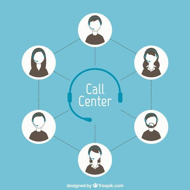 Concepto de centro de llamadas vector gratuito
