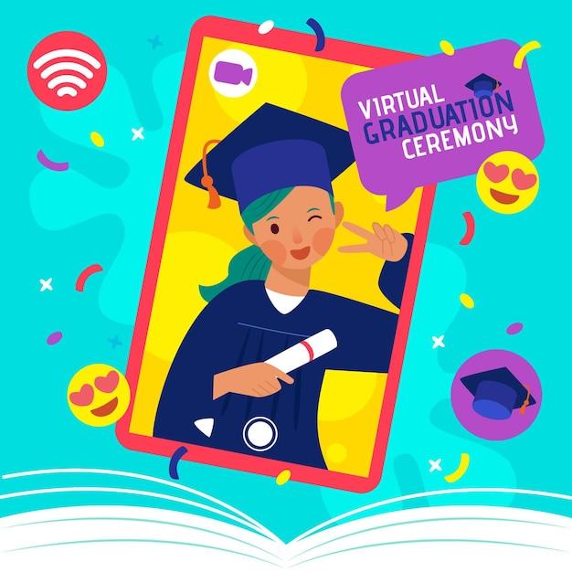 Concepto de ceremonia de graduación virtual Vector Premium
