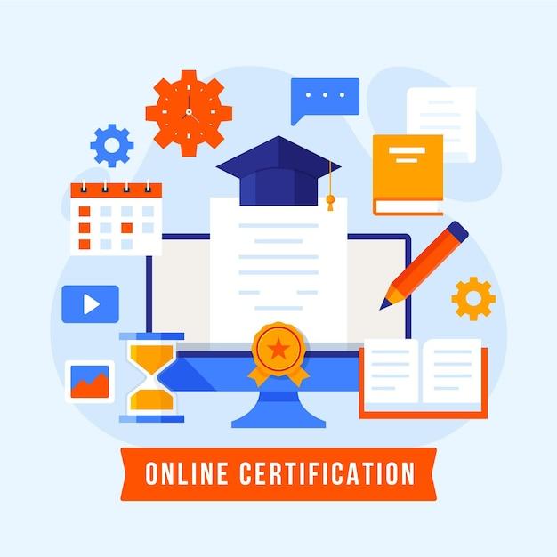 Concepto de certificación en línea vector gratuito