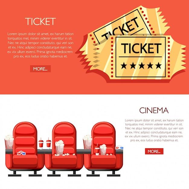 Concepto de cine. auditorio y tres cómodos sillones rojos en el cine. bebidas y palomitas de maíz, vasos para cine. entradas de oro de cine de dibujos animados. ilustración sobre fondo blanco y rojo Vector Premium