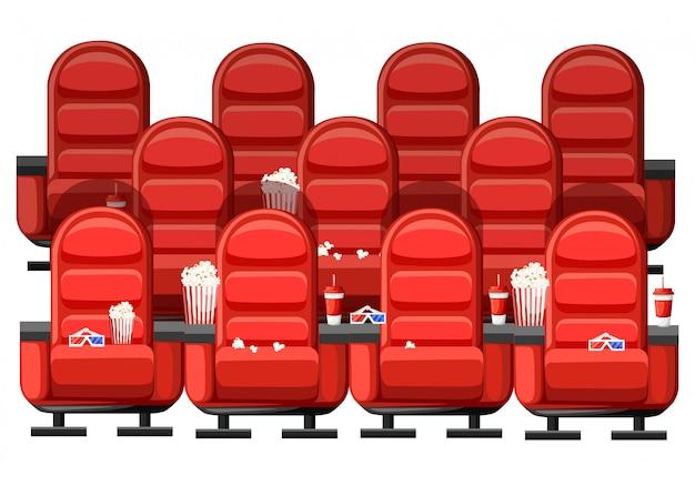 Concepto de cine. auditorio y tres filas de cómodos sillones rojos en el cine. bebidas y palomitas de maíz, vasos para cine. ilustración sobre fondo blanco. página del sitio web y aplicación móvil Vector Premium