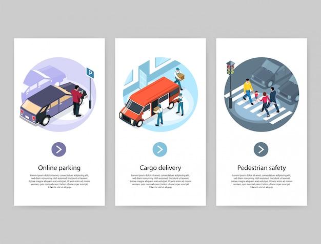 Concepto de ciudad 3 pancartas isométricas verticales con estacionamiento en línea, entrega de carga, paso de cebra peatonal seguro vector gratuito