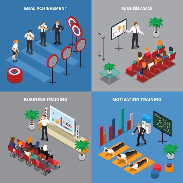 Concepto de coaching empresarial 4 composiciones isométricas con motivación confianza comunicación habilidades de entrenamiento objetivos de formación lograr vector gratuito