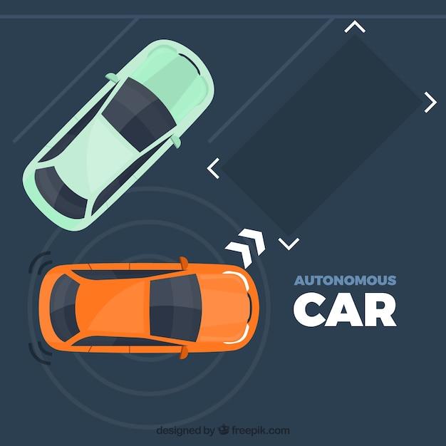 Concepto de coche autónomo con diseño plano vector gratuito