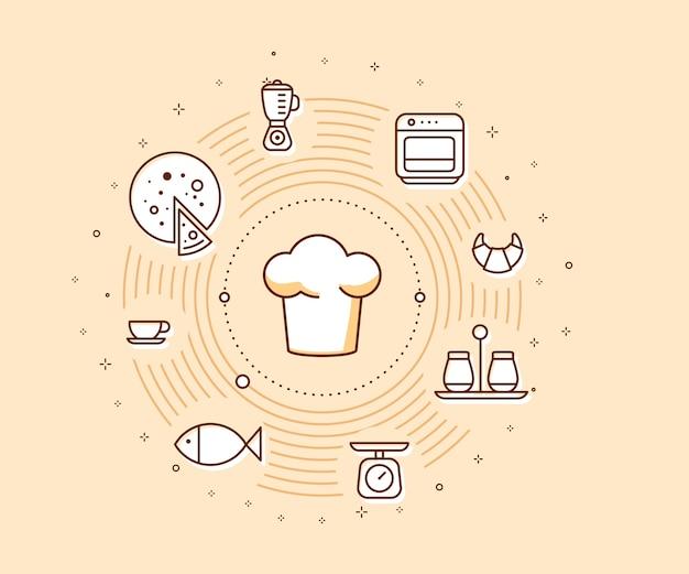 Concepto de cocina creativa sobre fondo claro ilustración de un gorro de cocinero con iconos de comida Vector Premium