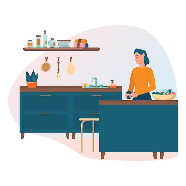 Concepto de cocina de desperdicio cero. mujer de pie en la mesa de la cocina con una taza de café reutilizable. suministros ecológicos para cocinar y comer. Vector Premium