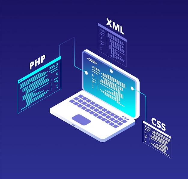 Concepto de codificación desarrollo de sitios web y programación de software de aplicaciones con laptop y pantallas virtuales. fondo de vector de código html5 y php Vector Premium