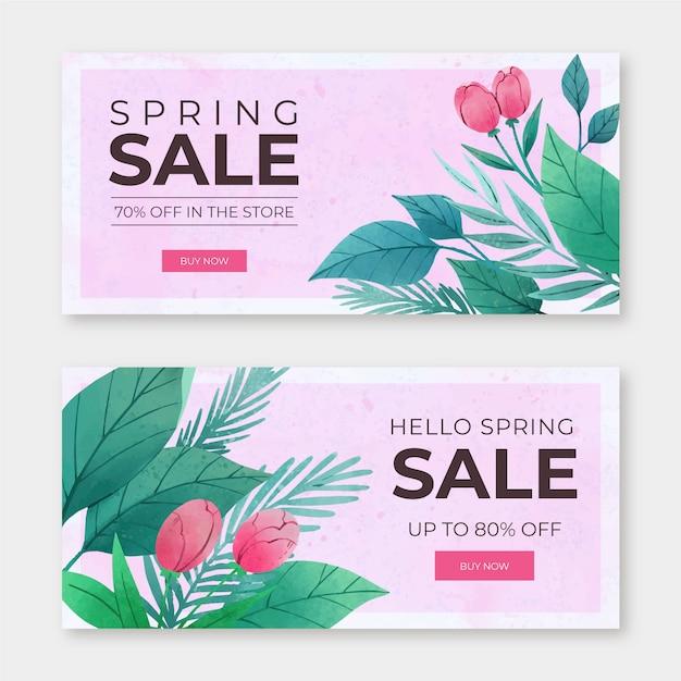 Concepto de colección de banner de venta de primavera acuarela vector gratuito