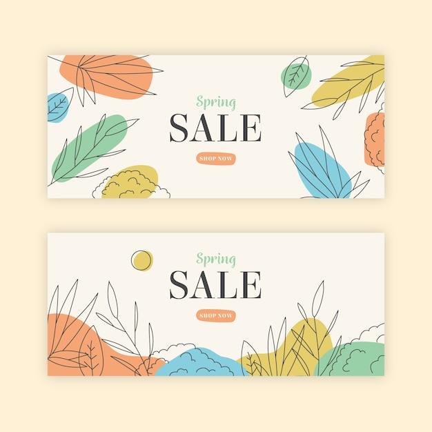Concepto de colección de banner de venta de primavera dibujado a mano vector gratuito