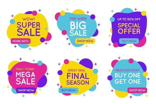 Concepto de colección de banners de ventas coloridas vector gratuito