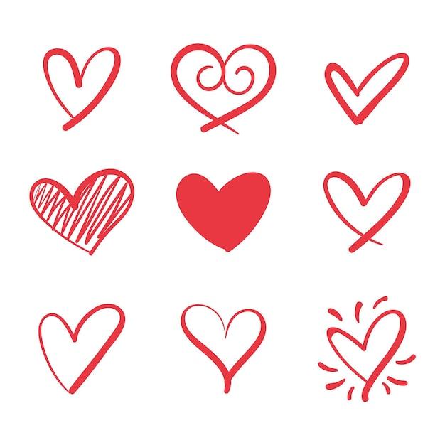 Concepto de colección de corazón vector gratuito