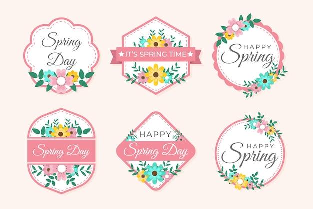 Concepto de colección de etiquetas de primavera de diseño plano vector gratuito