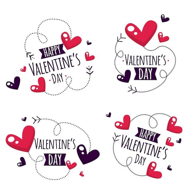 Concepto de colección de etiquetas de san valentín Vector Premium