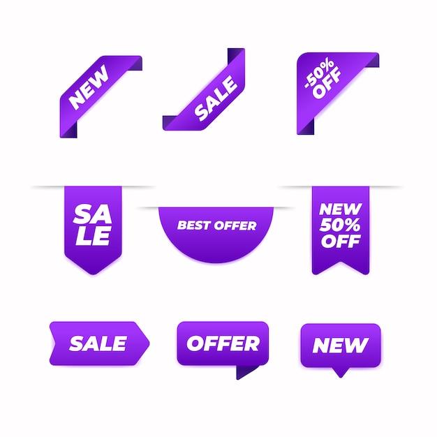 Concepto de colección de etiquetas de ventas vector gratuito