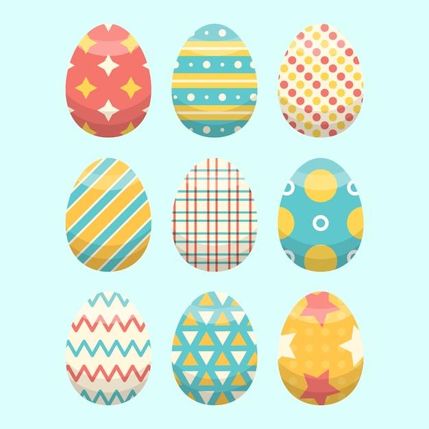 Concepto de colección de huevos de pascua de diseño plano vector gratuito