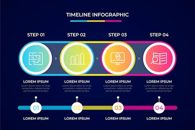 Concepto de colección de infografía de línea de tiempo Vector Premium