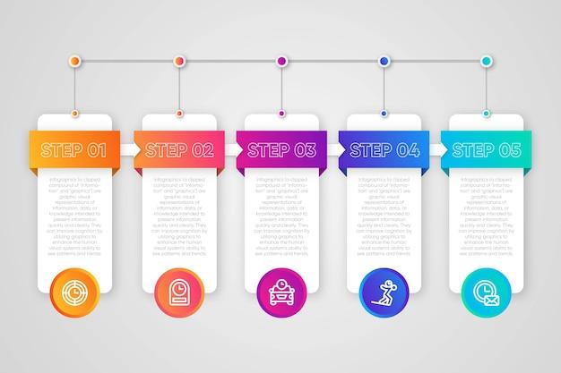 Concepto de colección de pasos de infografía vector gratuito