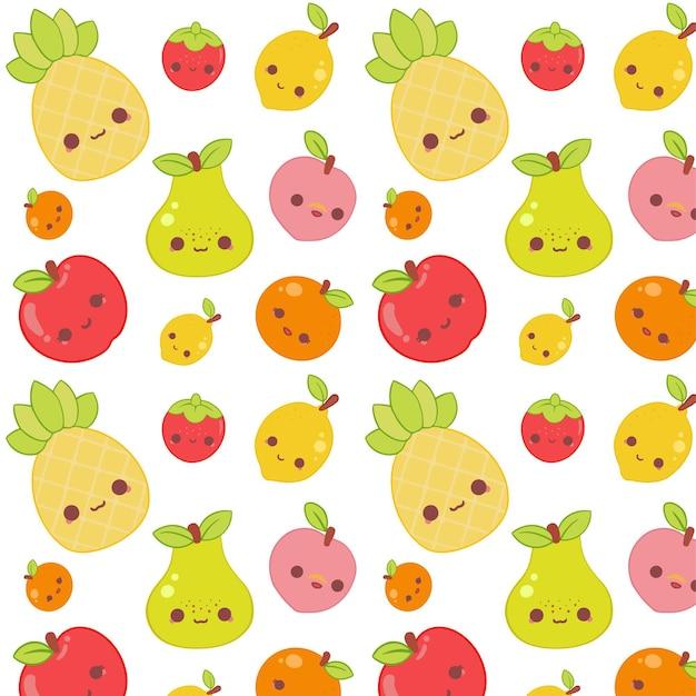 Concepto de colección de patrones de frutas vector gratuito